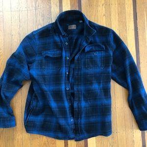 Men's Orvis blue plaid button front flannel XL L
